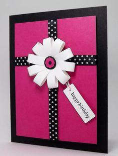 cricut birthday card ideas | Pink and black contrasted birthday card