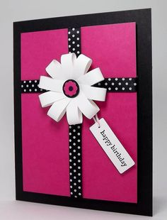 cricut birthday card ideas | Pink and black contrasted birthday card                                                                                                                                                     More
