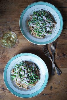 Spaghetti met blauwe kaassaus