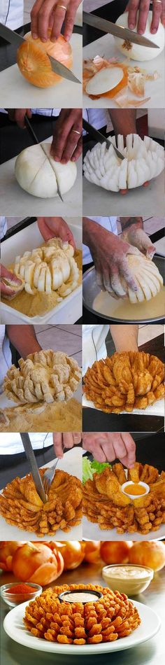 Outback Steakhouse Bloomin Onion ~ guess I need to learn how to do this since I'. - Outback Steakhouse Bloomin Onion ~ guess I need to learn how to do this since I'm asked all the t - I Love Food, Good Food, Yummy Food, Awesome Food, Outback Steakhouse Bloomin Onion Recipe, Onion Recipes, Restaurant Recipes, Appetizer Recipes, Dinner Recipes
