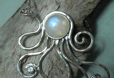 Octopus Necklace - Rainbow Moonstone Octopus Pendant- Statement Necklace - Unique Handcrafted Octopus Jewelry - Ocean Inspired