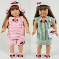 "18"" Doll Summer Outings Outfits Crochet Pattern"