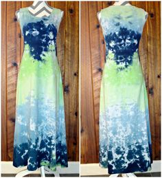 100% Cotton Small Hand Tie Dyed Sleeveless Summer Long Dress Blue Green #DharmaTrading #AsymmetricalHem #Casual #Dress #TieDye #JoiNT #JawDroppingNifty3 #JawDropping #Long