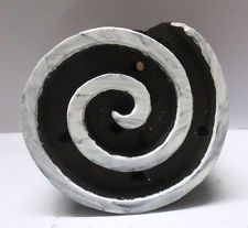 INDIAN WOODEN HAND CARVED TEXTILE PRINTING ON FABRIC BLOCK / STAMP ROUND SPIRAL