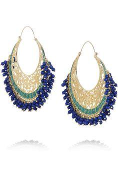 Isharya | Moon Bali 18-karat gold-plated hoop earrings.