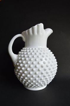 Vintage FENTON Hobnail White Milk Glass Large 10 by Farmhouseattic