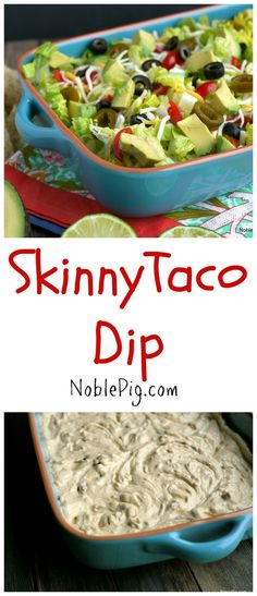 Skinny Taco Dip from Recipes Appetizers And Snacks, Appetizer Dips, Dip Recipes, Mexican Food Recipes, Snack Recipes, Cooking Recipes, Recipies, Easy Recipes, Desserts