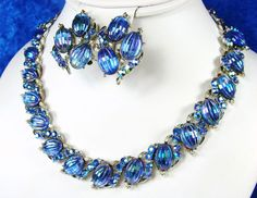 Vtg Coro Ribbed Melon Carved Glass Rhinestone Peacock Blue Necklace Earring Set | eBay
