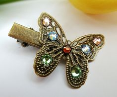 Vintage hair clip with butterfly, vintage hair accessoires, glitter hair clip, girl hair clip - pinned by pin4etsy.com