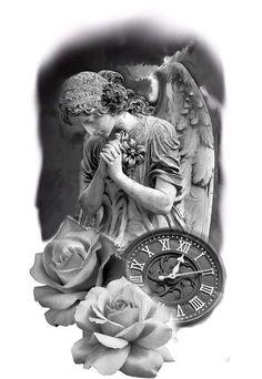 Angel Tattoo Designs, Tattoo Sleeve Designs, Sleeve Tattoos, Religious Tattoo Sleeves, Religion Tattoos, Heaven Tattoos, Statue Tattoo, Jesus Tattoo, Tattoo Project