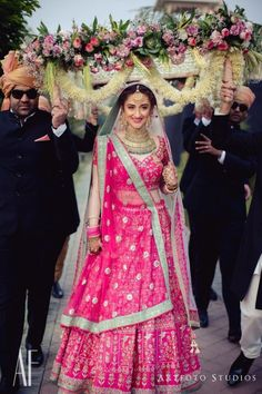 Stunning gotapatti Anita Dongre bridal lehenga with mint bordered dupatta! Pink Bridal Lehenga, Lehenga Wedding, Indian Bridal Lehenga, Indian Bridal Outfits, Indian Bridal Fashion, Indian Bridal Wear, Bridal Lehenga Choli, Indian Designer Outfits, Indian Dresses
