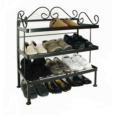 Premium Quality 12 Pair Shoe Rack By Fleur De Lis Living Shoe Holder For Closet, Shoe Rack For Home, Iron Patio Furniture, City Furniture, Metal Furniture, Entryway Furniture, Shoe Storage Cabinet, Bench With Shoe Storage, Closet Storage