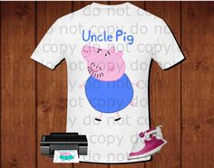 Uncle pig iron on transfer, Peppa pig iron on transfer, Peppa pig birthday party shirt iron on transfer, printable file instant download