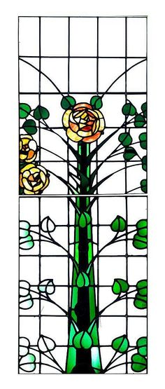 George Henry Walton (1867-1933) - For Walton & Co. - Leaded Glass Window Panels. Clear & Coloured Glass with Lead Came. Circa 1900. Two Sections: 81.5cm x 59cm.