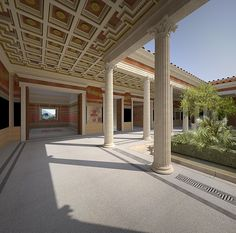 Villa reconstruction 2, Pompeii, Italy on Behance ~ West peristyle looking north east towards room N