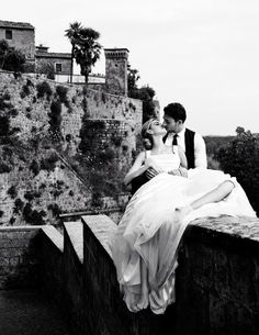 Italian wedding … shot by David Burton in Rome for Italian Elle Bride, 2010. The use of sheer striped fabric on her gown is KILLING me.