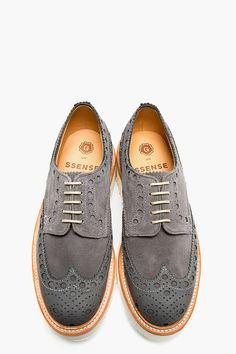GRENSON SSENSE EXCLUSIVE Grey Suede Double Sole Archie Brogues