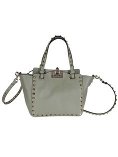 "VALENTINO Small ""Rockstud"" Trapeze Leather Tote Valentino, Grey With Double Top Handle, Strap,Flip-Lock Closur. #valentino #bags #shoulder bags #hand bags #leather #tote"
