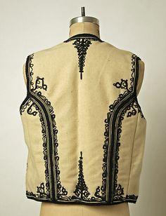 Bolero Date: Culture: Romanian Medium: wool, silk Folk Fashion, Mens Fashion, Wrought Iron Stairs, Folk Costume, Costumes, Designer Gowns, Metropolitan Museum, Machine Embroidery, Ethnic