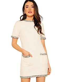 Floerns Womens Tweed Short Sleeve Shift Tunic Dress with Pockets White XS - Winter Dresses - Ideas of Winter Dresses Tweed Shorts, Tweed Dress, Work Dresses For Women, Super Cute Dresses, Dress Suits, Women's Dresses, Winter Dresses, Flare Dress, Short Sleeve Dresses