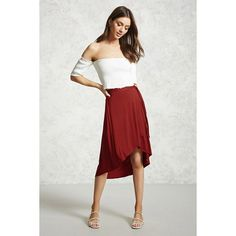 Forever21 High-Low Tulip Hem Skirt ($16) ❤ liked on Polyvore featuring skirts, brick, high low skirt, elastic waist skirt, hi low skirt, white hi lo skirt and tulip skirt