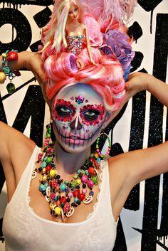 Barbie meets Carmen Miranda meets Dia de Los Muertos Sugar Skull make-up mask accented with crystals.