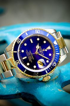 Two Tone Blue Faced Rolex