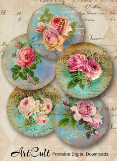 Printable Digital clip art VICTORIAN ROSES circle images for Pocket Mirrors Magnets Paper Weights English Vintage garden by ArtCult Cd Crafts, Arts And Crafts Projects, Paper Crafts, Decoupage Vintage, Collage Sheet, Paper Weights, Painting On Wood, Etsy, Cd Diy