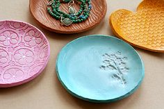 homemade jewelry dishes with sculpey, paint and stamps. Fun for girls to give to friends