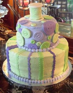 button ribbon birthday cakes | Birthday cake for a quilter/sewing enthusiast — Birthday Cakes