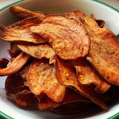 """Crispy Baked Sweet Potato Chips -- so many baked chip recipes claim to be """"crispy"""", let's hope this one works!"""