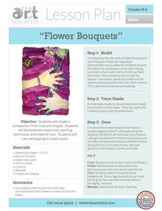 http://www.theartofed.com/2013/05/31/watercolor-flower-bouquets-free-lesson-plan-download/