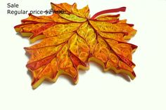 Sale, Quilled Autumn leaves Decorations,  Wood Fall Home decor, Rustic nature ornaments, paper quilling, Thanksgiving, set of 2 pieces
