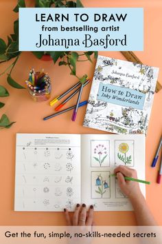 Bestselling artist Johanna Basford shares the fun, easy, no-skills-needed secrets to creating your own wondrous realms with line drawing in How To Draw Inky Wonderlands. Learn To Draw, Art Tutorials, Makeup Tutorials, Art Techniques, Easy Drawings, Art Lessons, Coloring Books, Adult Coloring, Painting & Drawing