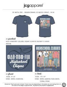 JCG Apparel : Custom Printed Apparel : Pi Beta Phi Hichschool Cliques T-Shirt #pibetaphi #piphi #hichschool #cliques #toocoolforschool