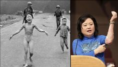 That Pulitzer prize winning 1972 AP photo shows a 9 year old girl running away from her village in Vietnam that had just been napalmed. The napalm burned off her clothes. The girl, Kim Phuc, survived and is shown 40 years later.  She now lives with her family in Canada, and helps young victims of war.