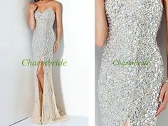 Latest long cream chiffon prom dresses with by Charmbride on Etsy, $259.00