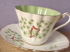 RARE Vintage Royal Stafford Irish tea cup set, harp shamrocks clovers, English tea set, green and white bone china tea cup and saucer