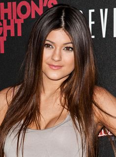 straight hair highlights | Kylie Jenner's Long, Straight, Brunette Hairstyle with Highlights is a ...