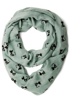 Cat Person Circle Scarf in MInt | Mod Retro Vintage Scarves | ModCloth.com