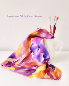 """Joanna Asimenos on Instagram: """"We create elegance through colorful palettes with a touch of luxury! ❤️🧡💜💛 #silk #silkscarf #handmade #hanpainted #silkfabric #silkpainting…"""" Silk Painting, Silk Fabric, Abstract Art, Palette, Textiles, Hand Painted, Colorful, Touch, Elegant"""