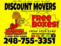 Free boxes for your next move. Book now WEMOVEYOUWIN DISCOUNT MOVERS 248-755-3351 #movers #discounts  #free #boxes