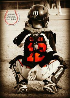 Baseball catcher. Love this photo idea.