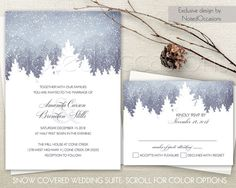 Winter Wedding Invitation Set Snowflakes Winter Wedding Mountain Cedar Pine Trees Printable Wedding Invite RSVP Digital Printable Template by NotedOccasions