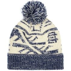 TOPMAN Navy and Cream Patterned Bobble Beanie Hat (64 RON) ❤ liked on Polyvore featuring men's fashion, men's accessories, men's hats and multi