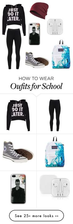 """Back to School"" by devonmichelleb on Polyvore featuring Peace of Cloth, Converse and JanSport"