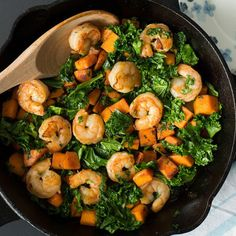 Sweet Potato, Kale, and Shrimp Skillet - Fitnessmagazine.com