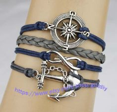 Anchor bracelet infinity bracelets compass navy blue by giftdiy, $4.99