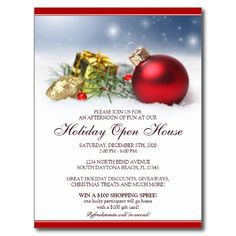 Festive Christmas Party Invitation Postcard  Party Invitations
