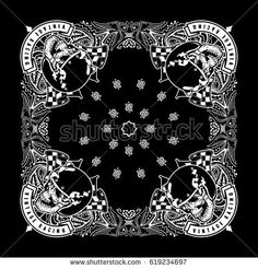 Black Paisley Skull Biker Bandanna
